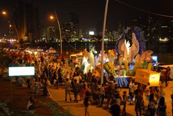 Panamanians celebrate at Carnaval on the Cinta Costera