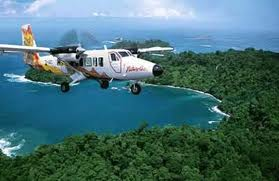 A Nature Air flight cruises over the Costa Rican coast