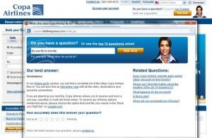 """An example of the self help """"Ask Ana"""" feature on the Copa Air website"""