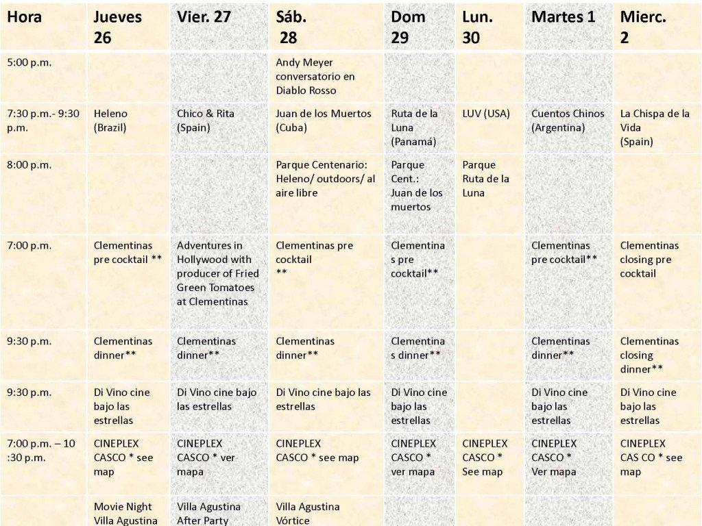 Panama Film Festival Calendar for 2012