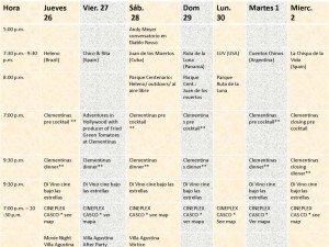 Calendar for Panama Film Festival 2012