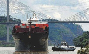 Container ship sails through the Panama Canal