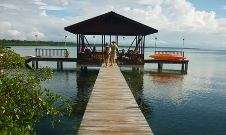 Tranquilo Bay ecolodge private jetty, Panama. Photographs: Gemma Bowes
