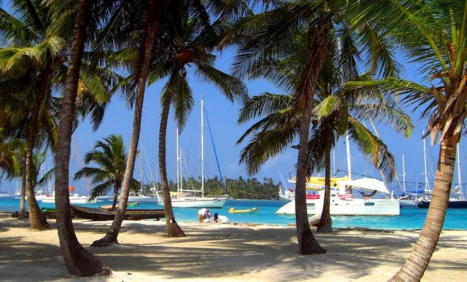 'Yachts anchored in the San Blas off the coast of Panama in the Caribbean' Jeremy Wyatt