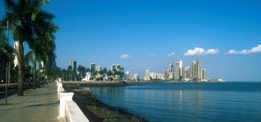 A view of the Downtown Panama City Skyline. Avendia Balboa. Punta Paitilla