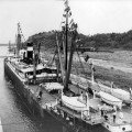 SS Ancon enters the Panama Canal on August 15, 1914